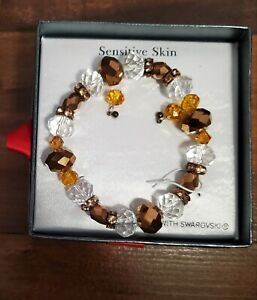 Sensitive Skin Stretch Beaded Bracelets Made with Swarovski - Matching Earrings