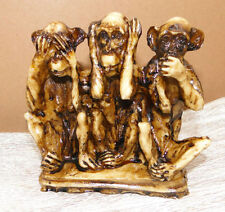 3 SINGES Figurines dreiaffen12 x11x4 cm animaux pas sehen, entendre, dire Nature