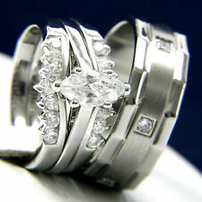 Engagement Ring Stainless Steel Womens Bridal Mens Wedding Band Set