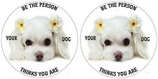 MALTESE TERRIER STICKER PET LOVER BE THE PERSON YOUR DOG THINKS YOU ARE PAIR 1