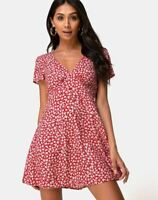 MOTEL ROCKS  Elara Tea Dress in Ditsy Rose Red Silver   (mr57.2)