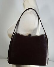 1950s 60s Vintage Handbag Leather Purse Adjustable Strap Metal Clasp Hardware
