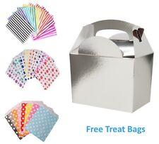 Plata 5 Caja De Comida Fiesta Cumpleaños Comida Almuerzo Cajas y bolsa gratis de Papel Caramelo Pastel
