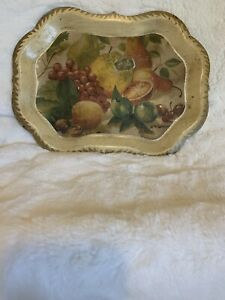 VTG Metal Snack Serving Platter Tray Decpage of Fruit Cream Beige Collectible