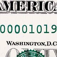 2013 $1 FRN Fancy Serial Number D00001019H Low Serial Number BIRTHDAY NOTE BILL