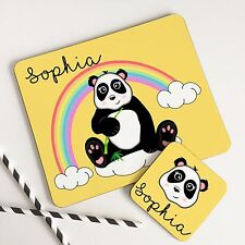 Kids Dinner Table Placemat Set & Coaster Personalised Cute Panda for girls