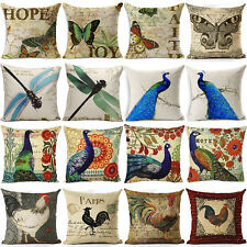 Vintage Peacock & Flowers Pillow Case Cotton Linen Sofa Cushion Cover Home Decor
