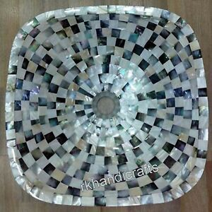 15 Inches Mother of Pearl Art Bathroom Accessories White Marble Counter Top Sink