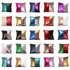 Fashion Double Color Sequin Pillow Case Throw Cushion Cover Office Home Décor