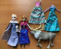 "Disney's Frozen 12"" doll 11"" Lot Anna Elsa Olaf Sven Dresses"