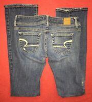 "American Eagle Slim Boot Cut Stretch Blue Jeans Womens Juniors size 0 (28x31"")"