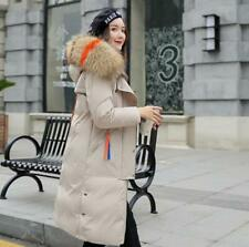Women Long Winter Warm Collar Coat Padded Quilted Puffa Ladies Jacket Fur Hooded