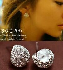 New Fashion Full Crystal Crescent Stud Earrings For Women Girls Best Gift