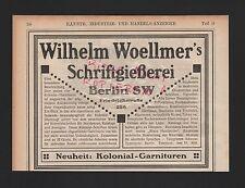 Berlin, publicité 1908, wilhelm woellmer schriftgiesserei