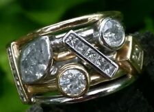 2.30 Ct. Diamond $10,600 Stackable 14k White & Yellow Gold Cigar Band Ring 15g