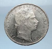 1858 Proof AUSTRIA w KING FRANZ JOSEPH I Eagle Silver Florin Vintage Coin i72420