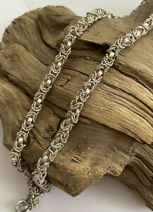 Vintage 925 Silver Fancy Belcher Link Rope Twist Chain Necklace 16 Inch 29.4g
