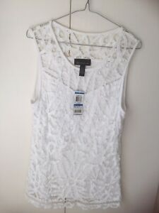 INC International Concepts USA NEW TAG L 12 14 top white lace sleeveless pretty