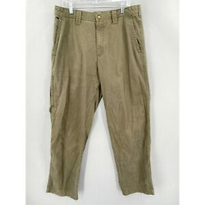 Columbia Pants Mens 36 x 32 Olive Green Zip Pocket Hiking Outdoor Cotton Canvas