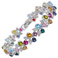 Xmas Melina Jewelry Rhinestone Round Cut Multi-Color Tennis Statement Bracelet