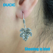 DUCIC Retro 925 Sterling Silver Maple Leaf Hook Dangle Earring Inlay Marcasite