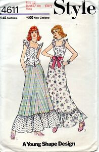 70s Style Sewing Pattern 4611 Misses Paneled Front Bodice Dress Size 12