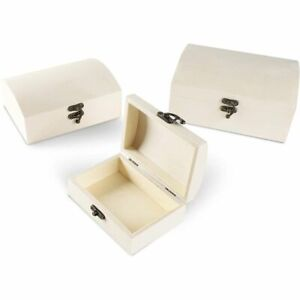 Unfinished Wood Box with Hinged Locking Lid, Wooden Jewelry Box (3 Pack)