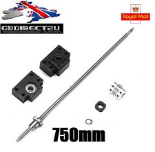 750mm SFU1605 Ball Screw with BK12 BF12 Supports + 6.35x10mm Coupler for CNC UK