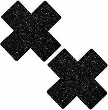 Neva Nude Black Malice Glitter X Factor Nipztix Pasties Nipple Covers for...