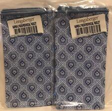 Longaberger Set of 4 Fabric Napkins Blue & White Provincial Paisley