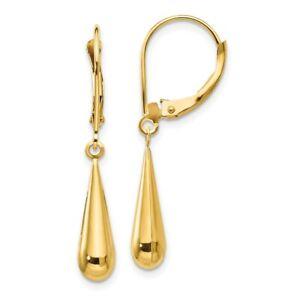 14k Yellow Gold Teardrop Drop Dangle Chandelier Leverback Earrings Lever Back