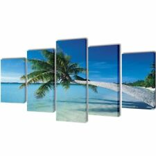 S#sand Beach With Palm Tree Canvas Prints Framed Wall Art Decor Painting 5 Panel