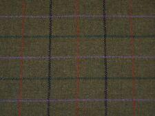 Brown windowpane checked wool tweed fabric by m