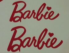 2 x Barbie STICKER  HOT PINK  OR WHITE CAR STICKER