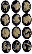 Set of 40x30mm cameos Zodiac cameo Resin Cameos astrology horoscope cabochons