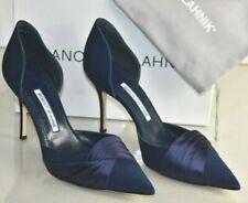 NEW Manolo Blahnik CAUSEDO Dorsay Pumps Navy Fabric Satin Heels Shoes 40.5