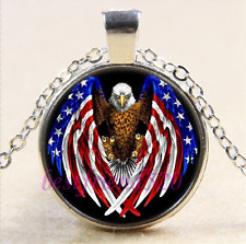 Eagle & USA Flag Photo Cabochon Glass Tibet Silver Chain Pendant Necklace