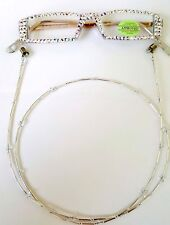 FULL BLING READERS  READING GLASSES AND CHAIN MADE WITH AB SWAROVSKI CRYSTALS