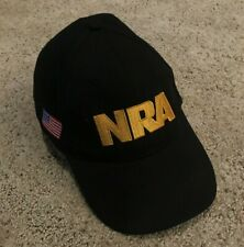 NRA Logo Cap Hat Adult One Size Adjustable Black Gold American Flag Embroidered