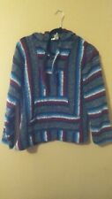 Mens Oland Indian Aztec Hooded Striped Sweater Center Pocket Pullover Medium