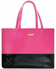 Juicy Couture Tote shoulder Bag HOT Pink leather Black sequin extra large purse