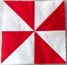NEW 16)9x9 Red White Stars ~ Pinwheels ~ PIECED Sewn Patchwork Quilt Top Blocks