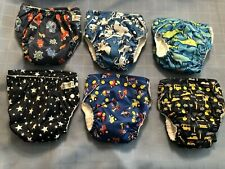 Lot 6 Blue Sunbaby Pocket Diapers w/Inserts One Size