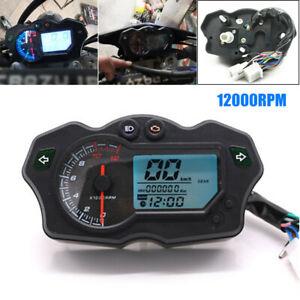 12000RPM 12V Universal Motorcycle Speedometer 7 Color Tachometer Odometer Gauge