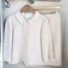 LK Bennett Pastel Pink Tweed Skirt Set 3/4 Blazer W/ Pencil Skirt Jackie O 6 8