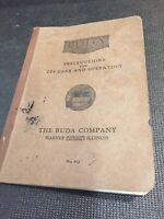 Buda The Engine Instructions For It's Care And Operation, Rare, Scarce