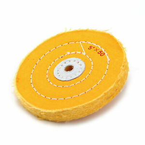 5inch Cloth Buffing Polishing Wheel Cotton Jewelry Grinder Pad 50PLY Yellow 2Pcs