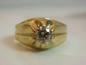 Estate 14kt Yellow Gold Gents 3/4ct diamond Belcher ring sz 11.75