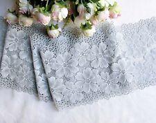 17 cm width Exquisite Cool Grey Flower Stretch Lace Trim