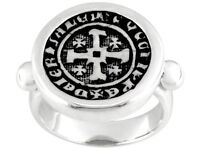 Artisan Collection Of Israel (Tm) Jerusalem Cross Coin Sterling Silver Ring